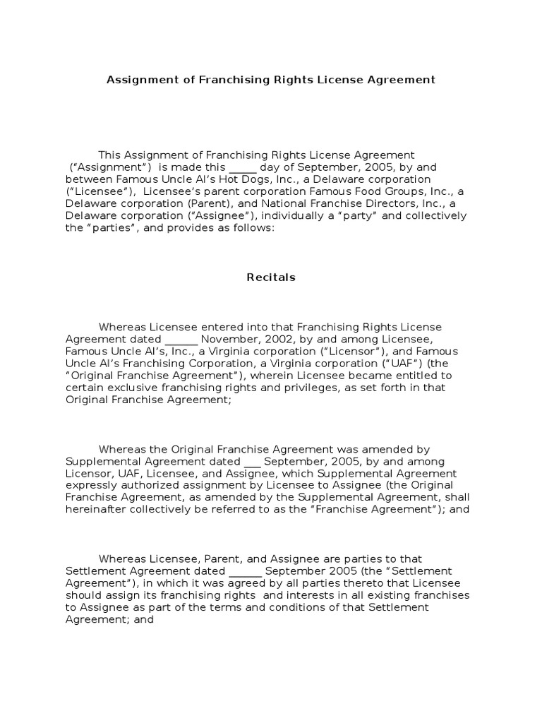 Assignment Of Franchise Draft Assignment Law License