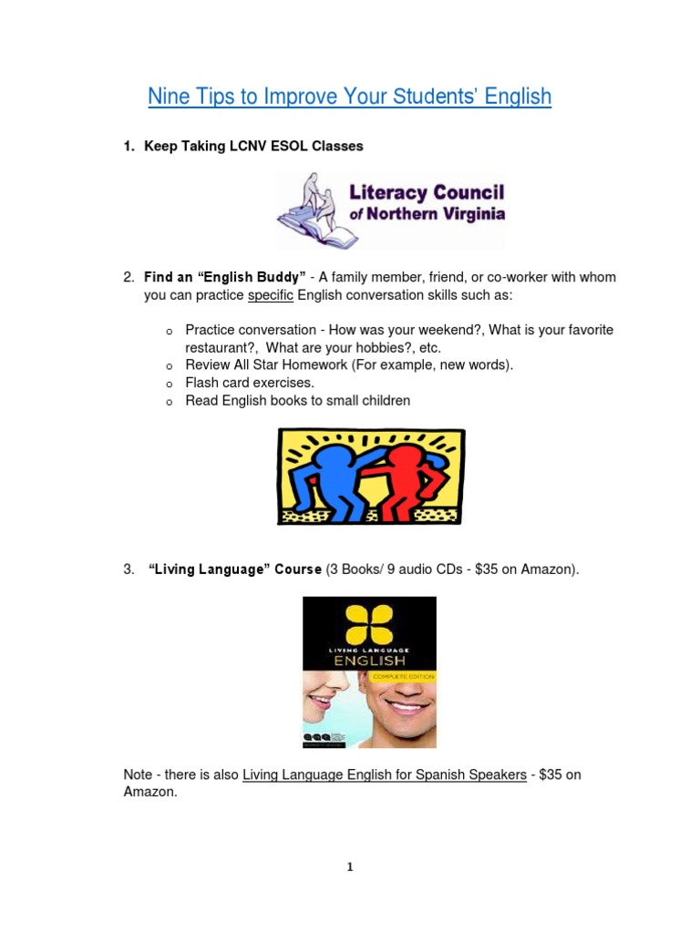 Nine Tips to Improve Your Students' English | English Language