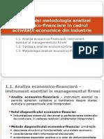 I. Obiectul Și Metoda Analizei Ec-financiară În Industrie