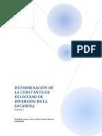 Práctica 2 (Determinación de La Constante de La Velocidad de Inversión de La Sacarosa)