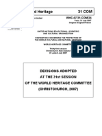 Decisions Adorted at The 31st Session of The World Heritage Committee (Christchurch, 2007)
