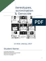 stereotypes discrimination   genocide student booklet