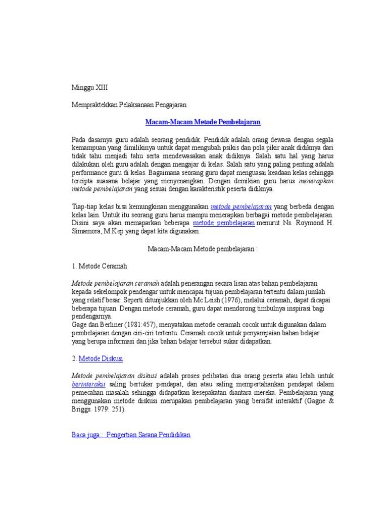 Macam 2 Metode Pembelajaran Mg 13 Bu Masdina
