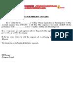 SAMPLE Experience Certificate
