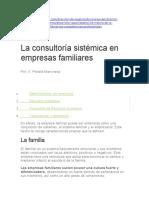 La Consultoría Sistémica en Empresas Familiares