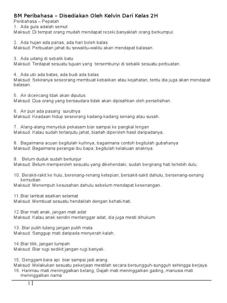Bm Peribahasa Disediakan Oleh Kelvin Dari Kelas 2h