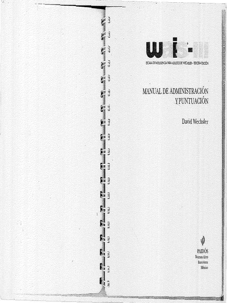 WAIS III Administración-Puntuación-BAREMOS