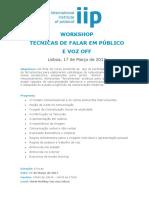 Workshop Técnicas Falar Publico e Voz Off