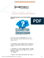 Expected Questions From Union Budget 2016-17 _ Exam Pundit - Achieve. Inspire