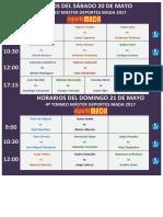 Horarios Del Sáb-dom 20 - 21 Mayo