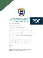 Constitución de La República Bolivariana de Venezuela de 20 de Diciembre de 1999