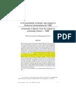A Universidade No Brasil - Das Origens à Reforma Universitária  (FÁVERO)