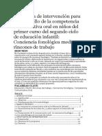 Propuesta de Intervención Para El Desarrollo de La Competencia Comunicativa Oral en Niños Del Primer Curso Del Segundo Ciclo de Educación Infantil