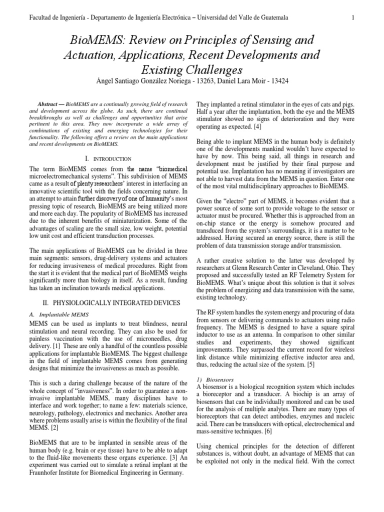 Review BioMEMS | Biosensor | Earth & Life Sciences