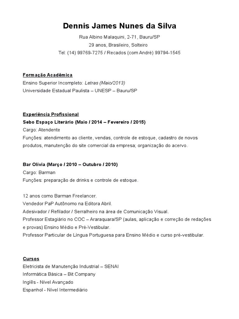 Excelente Coctelería Muestras De Cv Regalo - Ejemplo De Colección De ...