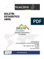 Boletin Estadisticas Turismo Abril 2016