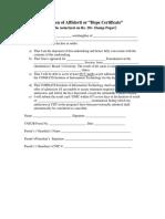 Specimen of Affidavit