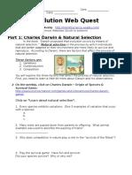 genetics - evolution web quest
