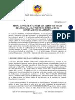 Misiva Cautelar a favor de las Iglesias Católicas No-Romanas en Antioquia