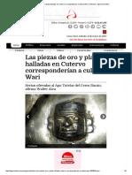 Las Piezas de Oro y Plata Halladas en Cutervo Corresponderían a Cultura Wari _ Noticias _ Agencia Andina