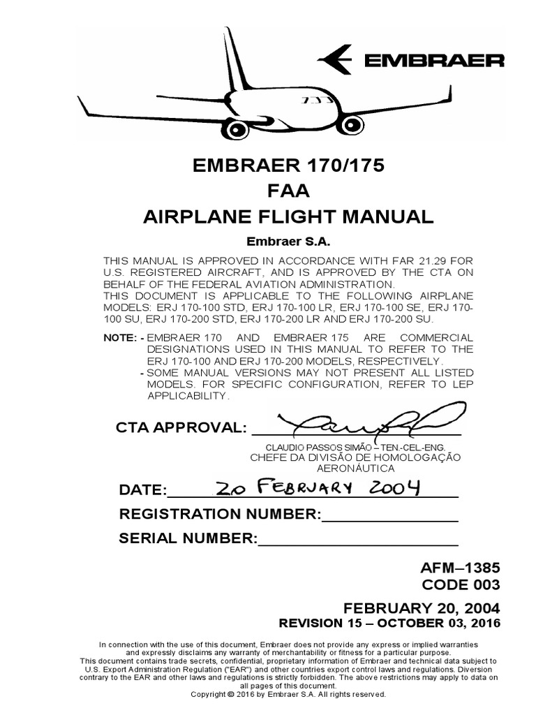 embraer 170 175 airplane flight manual aerospace engineering rh scribd com Army Manual Dispatch for Vehicles Dispatch Training Manuals
