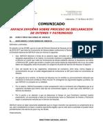 Comunicado Declaracion de Interes y Patrimonio