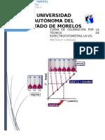 Curva de Calibración Por La Técnica de Espectrofotometría Uv-Vis