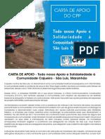 CARTA de APOIO - Todo Nosso Apoio e Solidariedade à Comunidade Cajueiro - São Luis-Maranhão