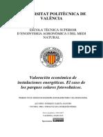 Valoración Económica de Parques Solares Fotovoltaicos