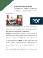 Diferencias Entre El Lenguaje Oral y Escrito Exposicion Dinora