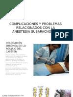 Complicaciones y Problemas Relacionados Con La Anestesia Subaracnoidea