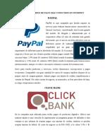 Intermediarios de Pago Más Conocidos en Internet