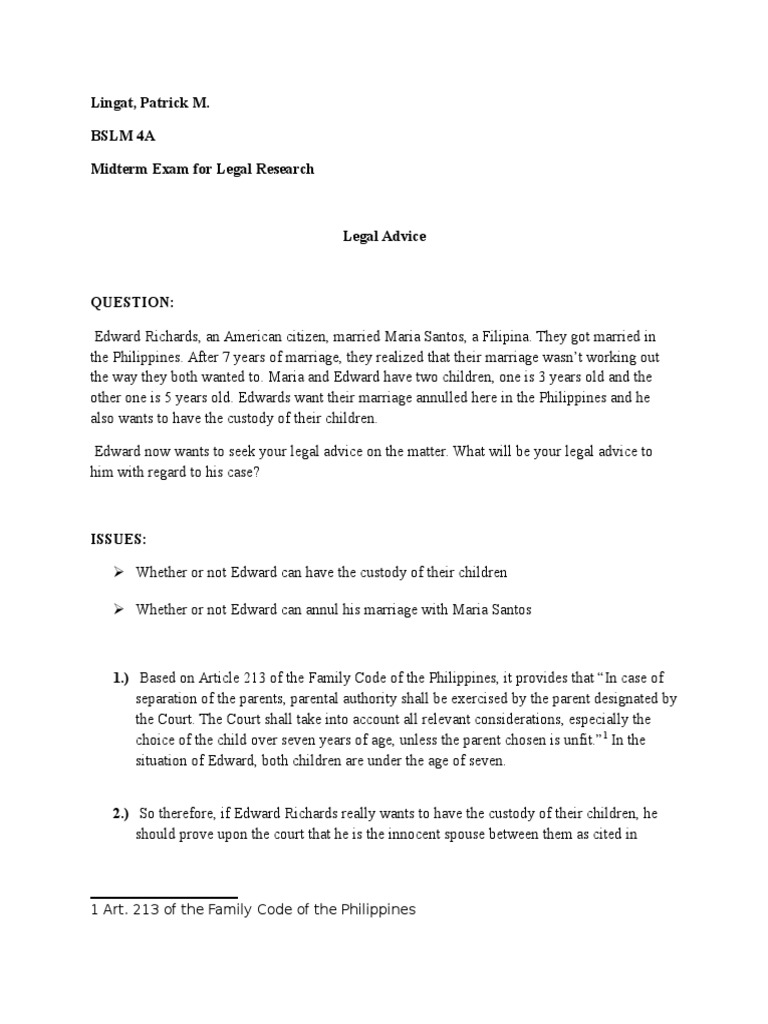 Legres(Lingat) | Child Custody | Annulment