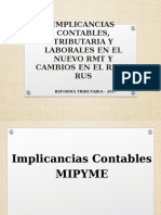 IMPLICANCIAS CONTABLES, TRIBUTARIA Y LABORALES EN EL NUEVO RMT Y CAMBIOS EN EL RER Y RUS.pptx