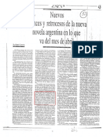 Nuevos Avances y Retrocesos de La Nueva Novela Argentina en Lo Que Va Del Mes de Abril (1989)