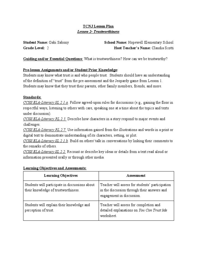 Worksheets Trustworthiness Worksheets lesson2 trustworthiness trust emotion conversation