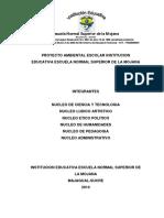 Proyecto Ambiental Escolar Institucion Educativas Escuela Normal Superior de La Mojana