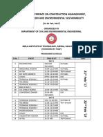 CMMES 2017 Programme Schedule