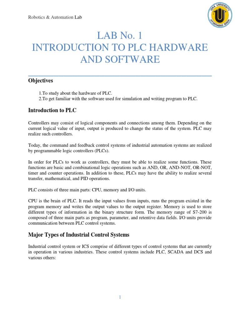 Lab 01 - Introduction to PLC Hardware and Software | Programmable