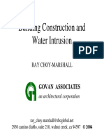 Bldg Constrn and Water Intrusion