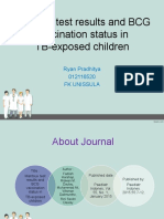 Journal Reading Anak mantoux test result and BCG vaccination status in TB-exposed childreen