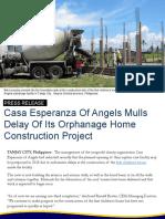 Casa Esperanza Of Angels Mulls Delay Of Its Orphanage Home Construction Project