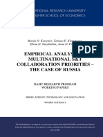 Empirical Analysis of Multinational S&T Collaboration Priorities –The Case of Russia