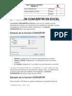 La Función Convertir en Excel