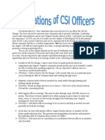 expectations of csi officers cpo