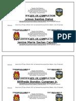 Agency Certificate