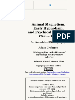 Animal Magnetism, Early Hypnotism, and Psychical Research ...