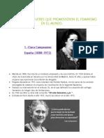 Biografias de Mujeres Que Promovieron El Feminismo en El Mundo