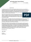 Shelbyville Superintendent Letter
