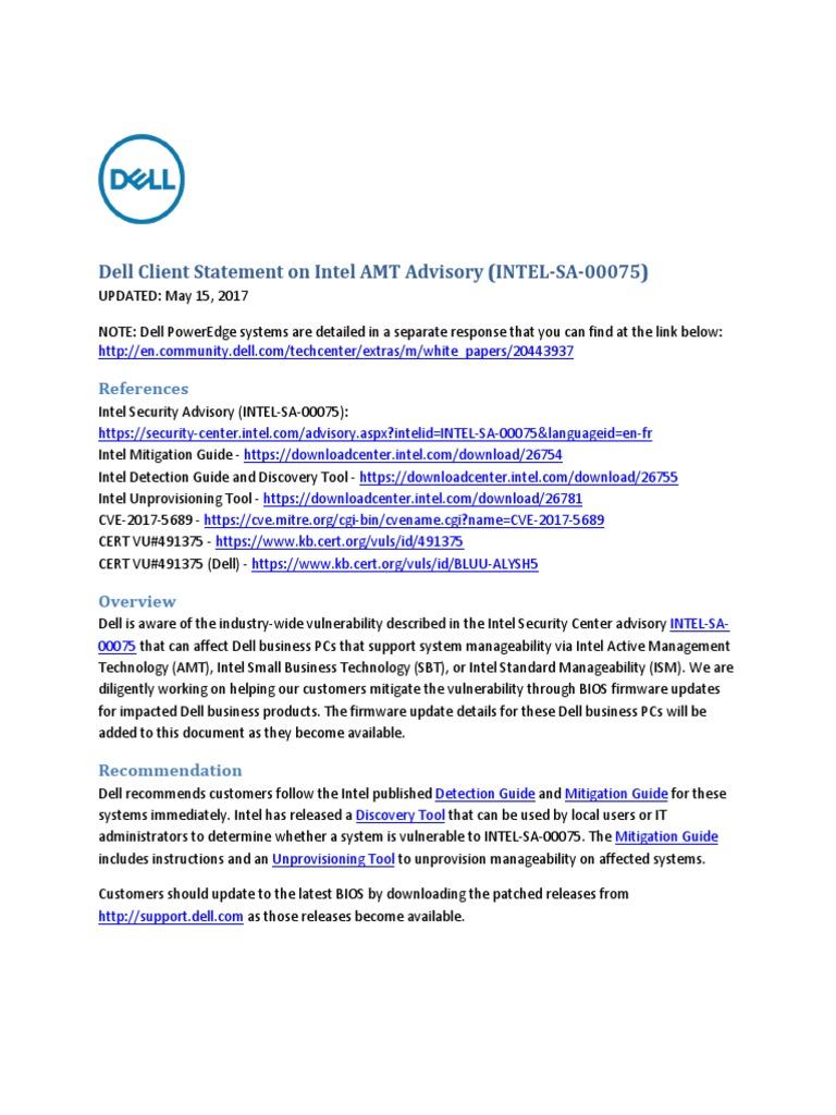 Dell Client Statement on Intel AMT Advisory (INTEL-SA-00075